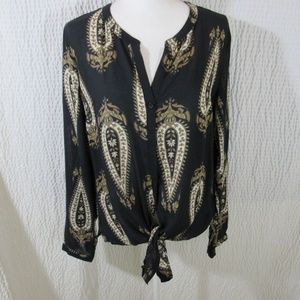 Lucky Brand Shirt Top M Tie Front Black Copper